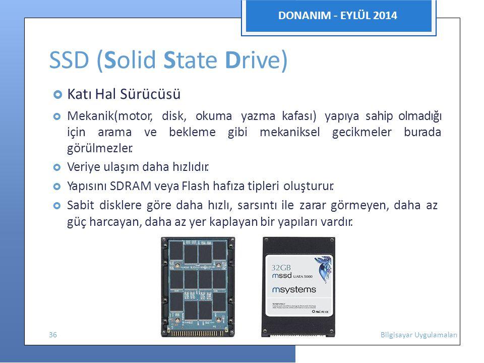 DONANIM - EYLÜL 2014 SSD (Solid State Drive)  Katı Hal Sürücüsü  Mekanik(motor, disk, okuma yazma kafası) yapıya sahip olmadığı için arama ve bekleme gibi mekaniksel gecikmeler burada görülmezler.