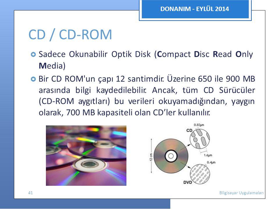 DONANIM - EYLÜL 2014 CD / CD-ROM  Sadece Okunabilir Optik Disk (Compact Disc Read Only Media)  Bir CD ROM un çapı 12 santimdir.