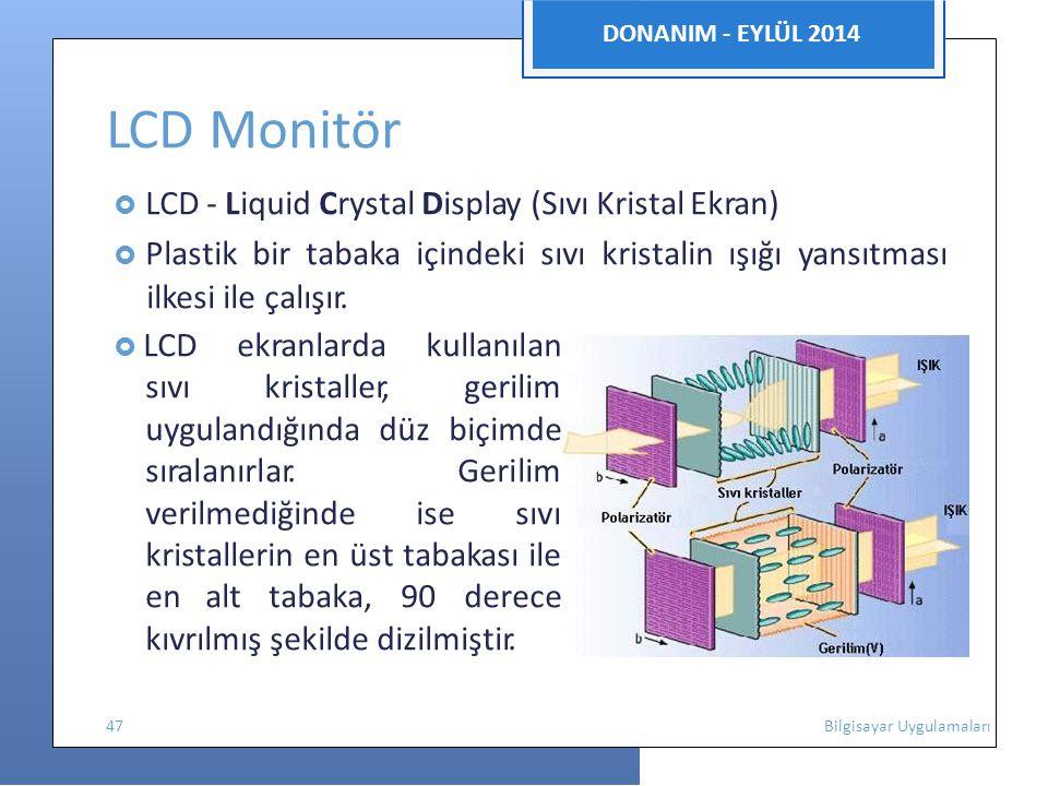 DONANIM - EYLÜL 2014 LCD Monitör  LCD - Liquid Crystal Display (Sıvı Kristal Ekran)  Plastik bir tabaka içindeki sıvı kristalin ışığı yansıtması ilkesi ile çalışır.