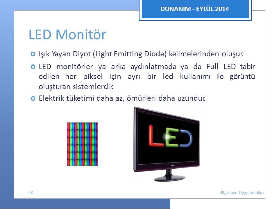 DONANIM - EYLÜL 2014 LED Monitör  Işık Yayan Diyot (Light Emitting Diode) kelimelerinden oluşur.