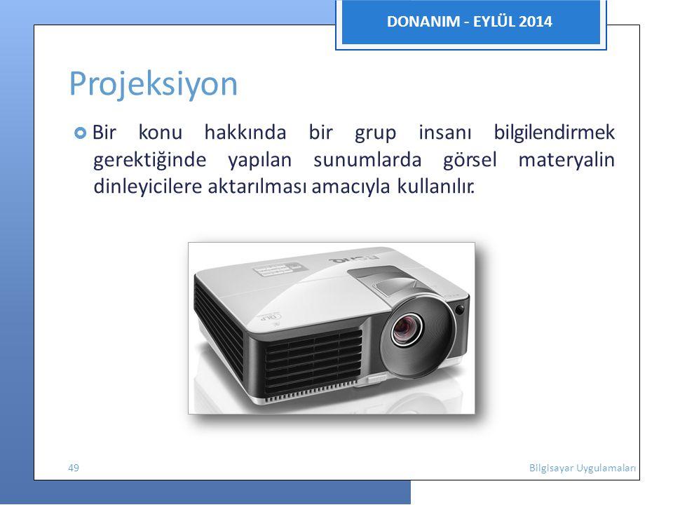 DONANIM - EYLÜL 2014 Projeksiyon  Bir konu hakkında bir grup insanı bilgilendirmek gerektiğinde yapılan sunumlarda görsel materyalin dinleyicilere aktarılması amacıyla kullanılır.