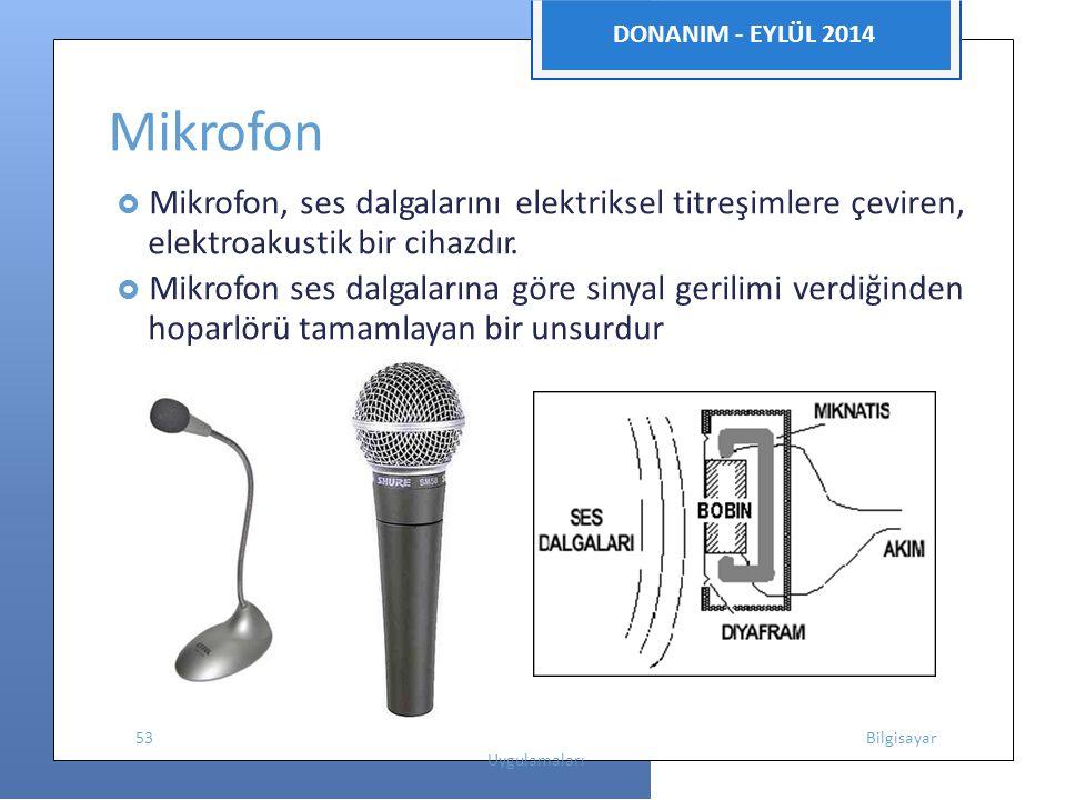 DONANIM - EYLÜL 2014 Mikrofon  Mikrofon, ses dalgalarını elektriksel titreşimlere çeviren, elektroakustik bir cihazdır.