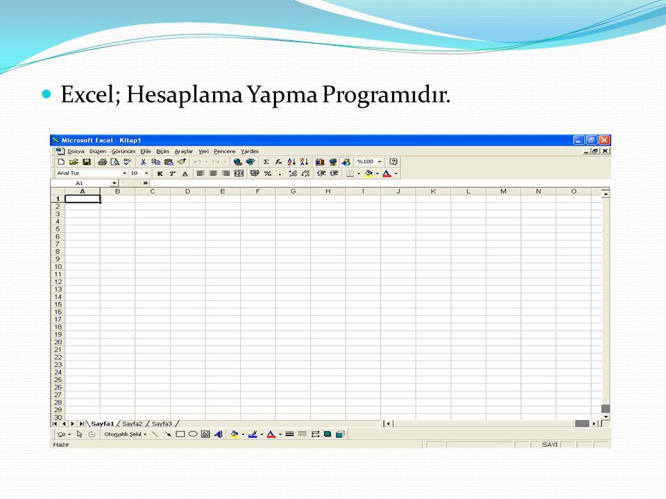 Excel; Hesaplama Yapma Programıdır.