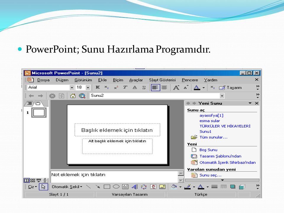 PowerPoint; Sunu Hazırlama Programıdır.