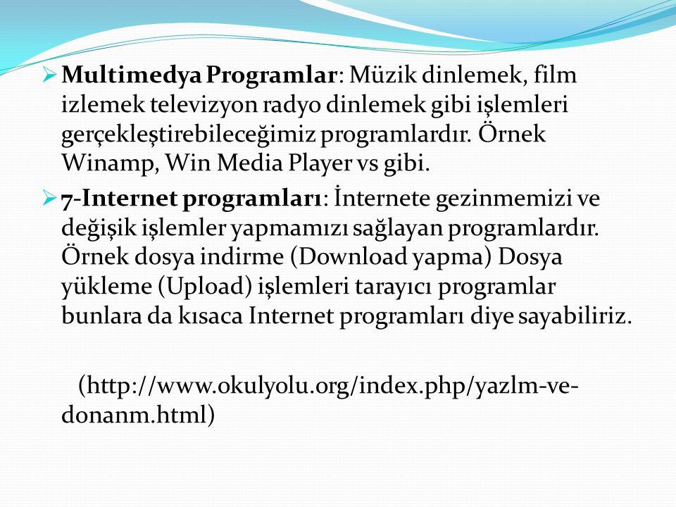  Multimedya Programlar: Müzik dinlemek, film izlemek televizyon radyo dinlemek gibi işlemleri gerçekleştirebileceğimiz programlardır. Örnek Winamp, W
