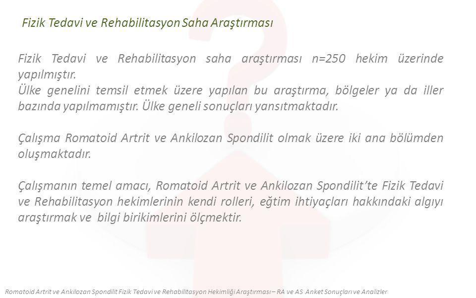 Fizik Tedavi ve Rehabilitasyon Saha Araştırması Romatoid Artrit ve Ankilozan Spondilit Fizik Tedavi ve Rehabilitasyon Hekimliği Araştırması – RA ve AS Anket Sonuçları ve Analizler Fizik Tedavi ve Rehabilitasyon saha araştırması n=250 hekim üzerinde yapılmıştır.