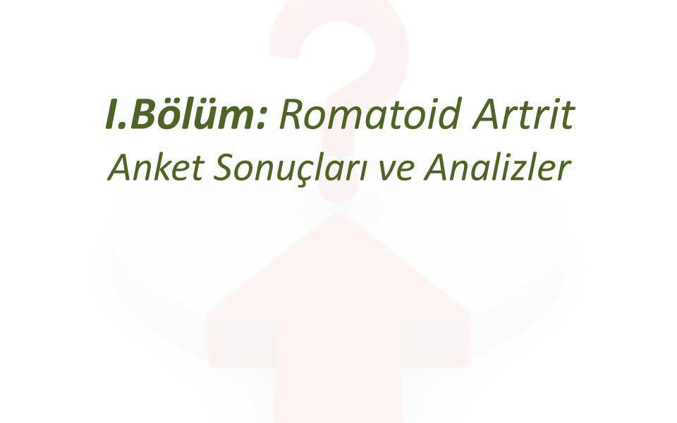 Tanı Sorularına Verilen Cevaplar ve Doğru Oranları Romatoid Artrit ve Ankilozan Spondilit Fizik Tedavi ve Rehabilitasyon Araştırması – I.Bölüm:RA Anket Sonuçları ve Analizler EvetHayır 1- En sık tutulan eklemler el ve el bileğidir%100%0 2- Romatoid Artrit erkeklerde kadınlardan daha sık görülür.%9%91 3- Ağrı ve tutukluk en sık görülen non-spesifik semptomlardır.%100%0 4- Eklemlerde kızarıklıklara rastlanır.%38%62 5- RF testi değeri her zaman pozitiftir.%0%100 6- Sabahları eklemlerde yarım saatten fazla görülen tutulma görülür.%92%8 7- Eklemlerdeki tutulma simetrik değildir.%6%94 8- Omurga tutulumu görülebilir%67%33 n=250 Kırmızı ile işaretli sorular tanı koymada önemli «beş soru» olarak işaretlenmiştir.