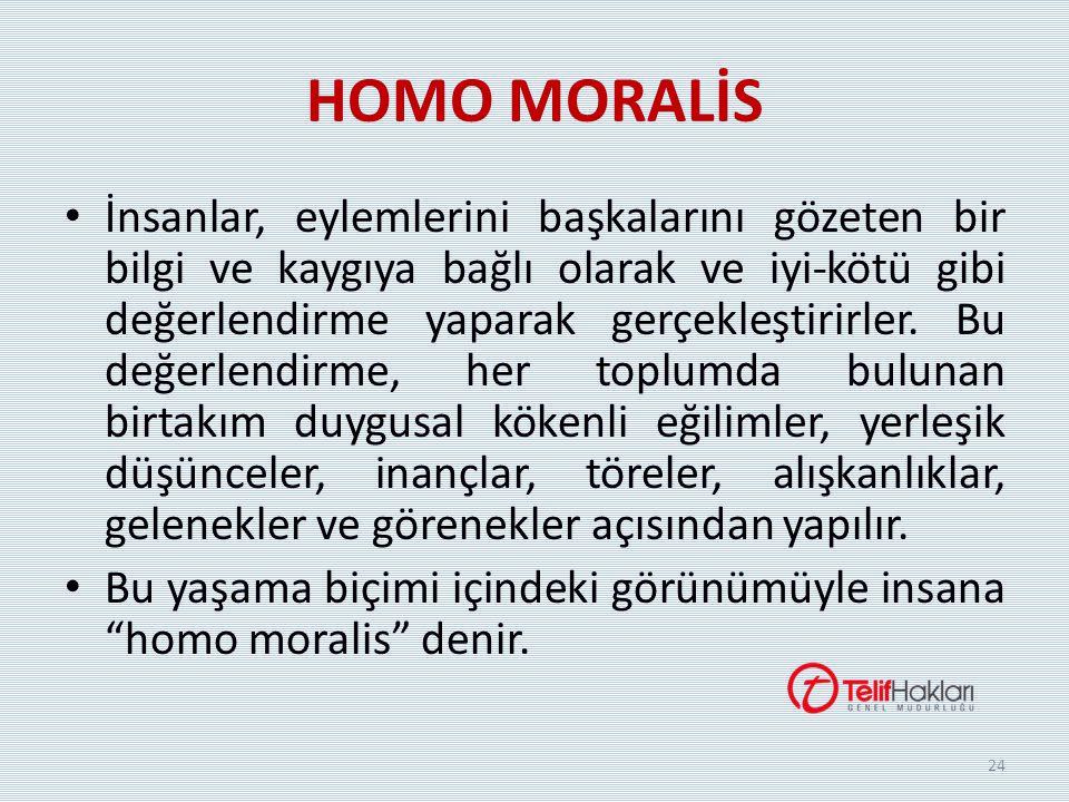 HOMO MORALİS İnsanlar, eylemlerini başkalarını gözeten bir bilgi ve kaygıya bağlı olarak ve iyi-kötü gibi değerlendirme yaparak gerçekleştirirler. Bu