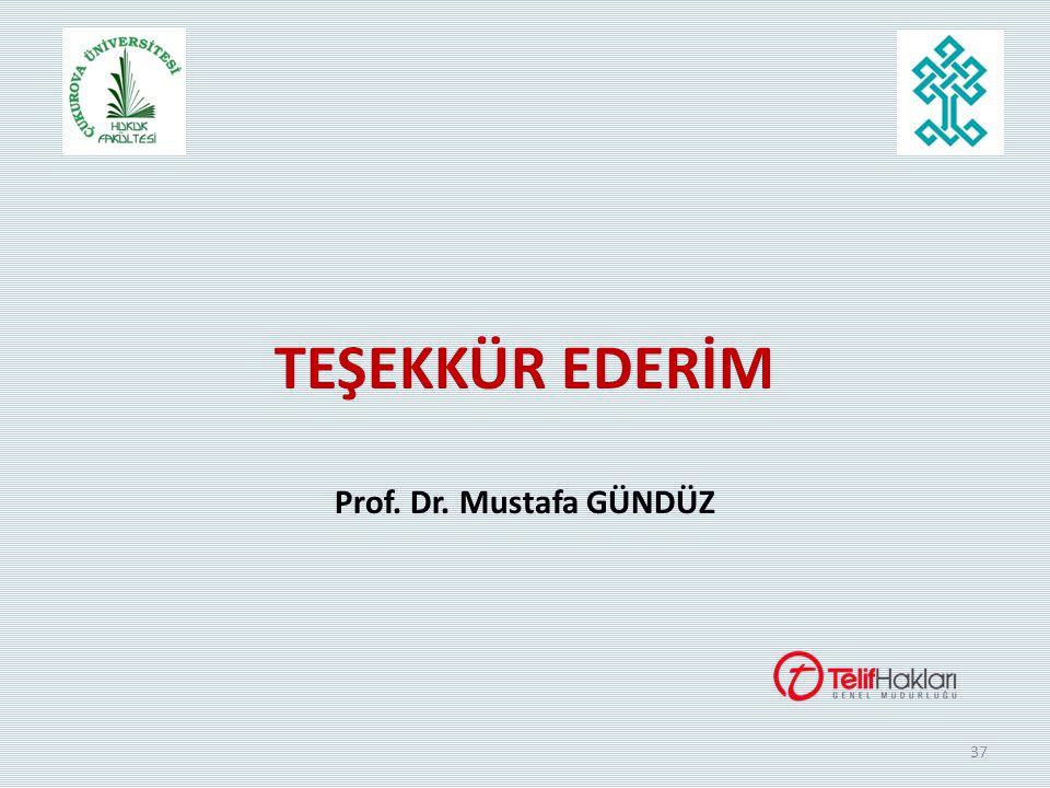 37 TEŞEKKÜR EDERİM Prof. Dr. Mustafa GÜNDÜZ