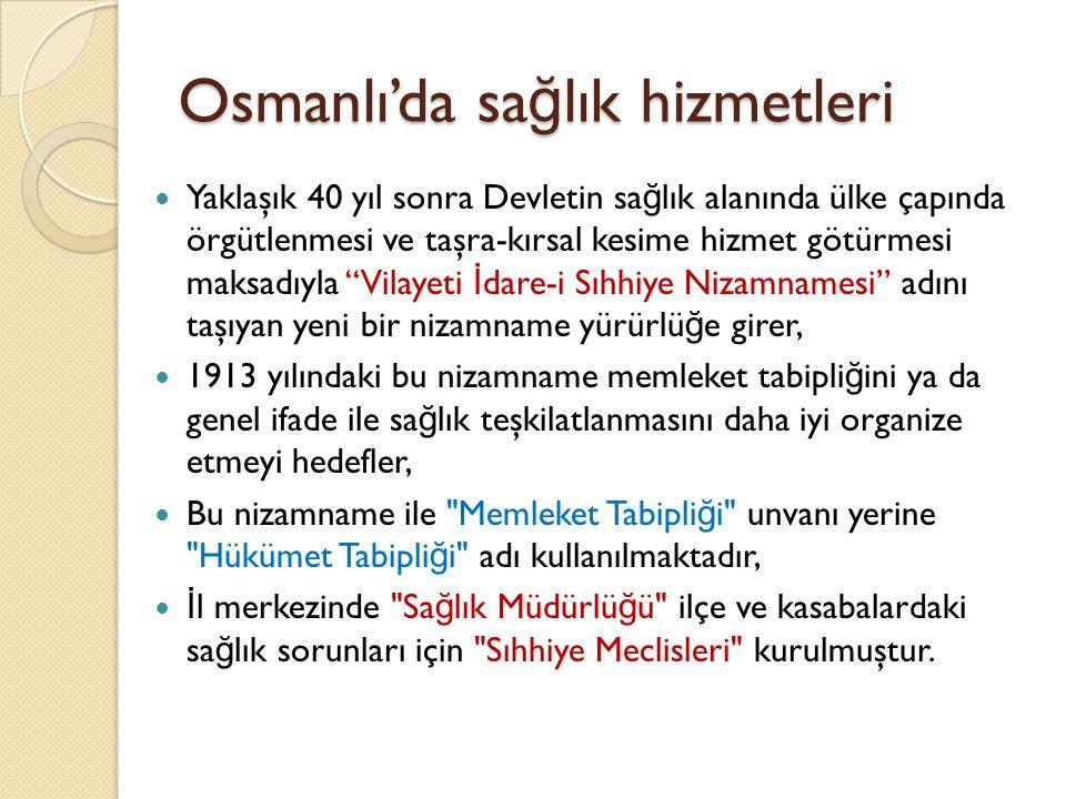 Cumhuriyet Döneminde Sa ğ lık Hizmetleri Sa ğ lık Bakanlı ğ ı 3 Mayıs 1920 tarihinde, 3 sayılı Sıhhat ve İ çtimai Muavenet Vekaleti Yasası ile kurulmuştur, 3 Mayıs 1920' de yapılan ilk Bakanlar Kurulu toplantısına Dr.