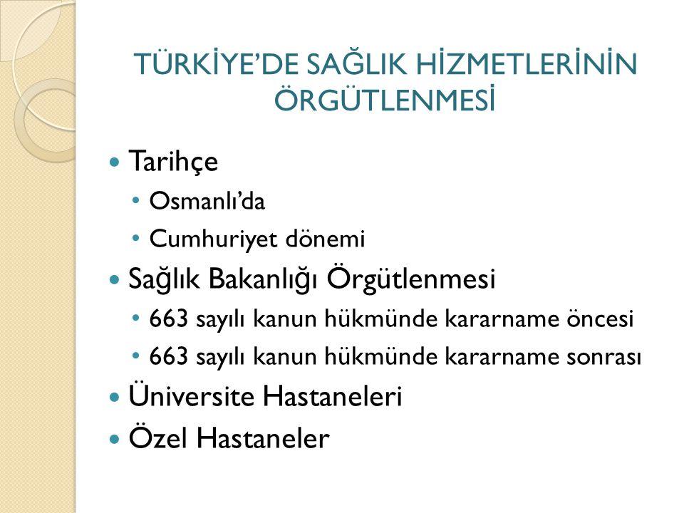 Osmanlı'da sa ğ lık hizmetleri Osmanlı devletinde kamusal hizmetler vakıflar aracılı ğ ıyla idare edilirdi.