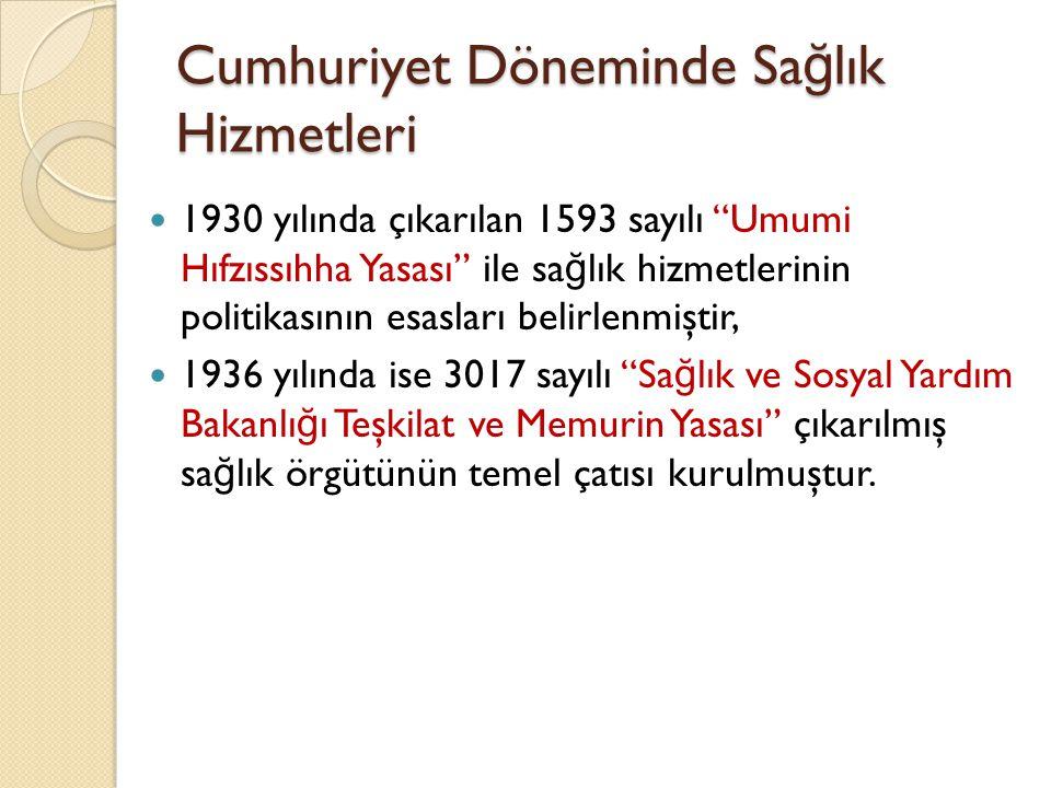 Cumhuriyet Döneminde Sa ğ lık Hizmetleri 1938 Sonrası ve Dr.