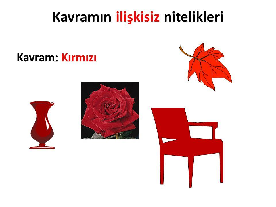 Kavramın ilişkisiz nitelikleri Kavram: Kırmızı