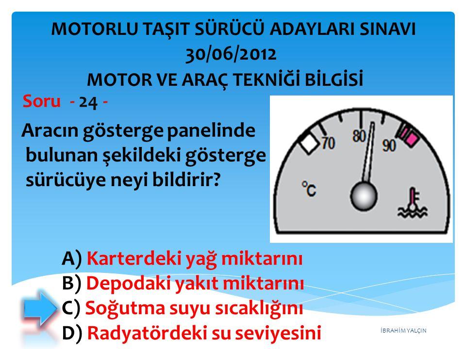 İBRAHİM YALÇIN Aracın gösterge panelinde bulunan şekildeki gösterge sürücüye neyi bildirir.
