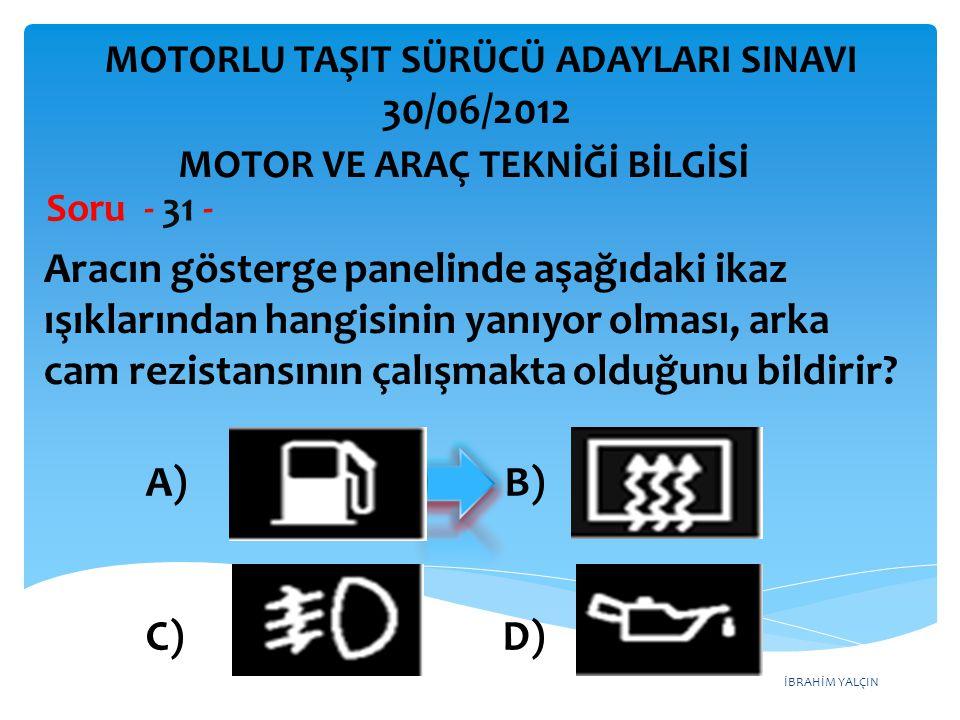 İBRAHİM YALÇIN Aracın gösterge panelinde aşağıdaki ikaz ışıklarından hangisinin yanıyor olması, arka cam rezistansının çalışmakta olduğunu bildirir.