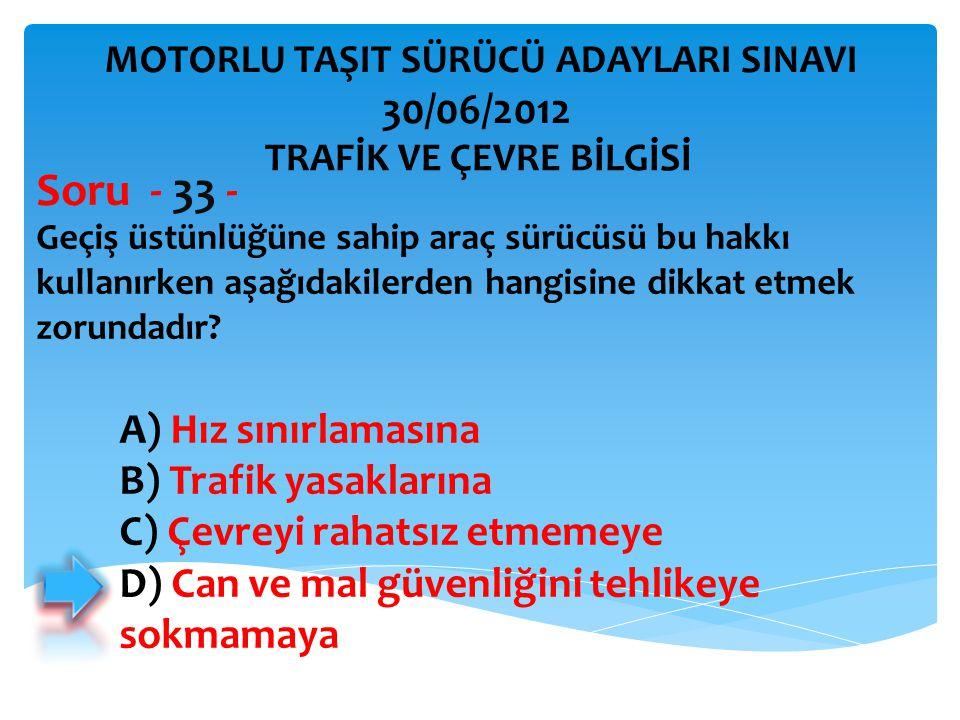 Geçiş üstünlüğüne sahip araç sürücüsü bu hakkı kullanırken aşağıdakilerden hangisine dikkat etmek zorundadır.