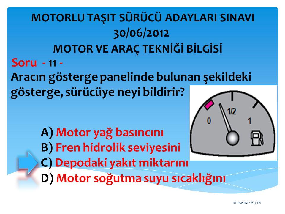 İBRAHİM YALÇIN Aracın gösterge panelinde bulunan şekildeki gösterge, sürücüye neyi bildirir.