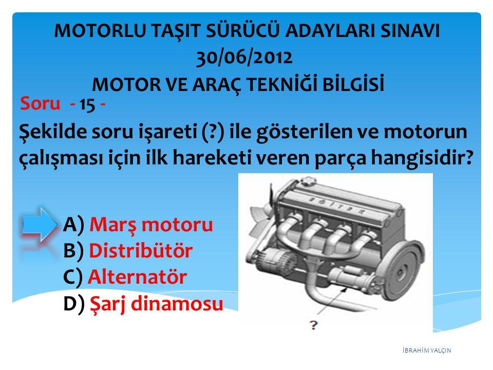 İBRAHİM YALÇIN Şekilde soru işareti (?) ile gösterilen ve motorun çalışması için ilk hareketi veren parça hangisidir.