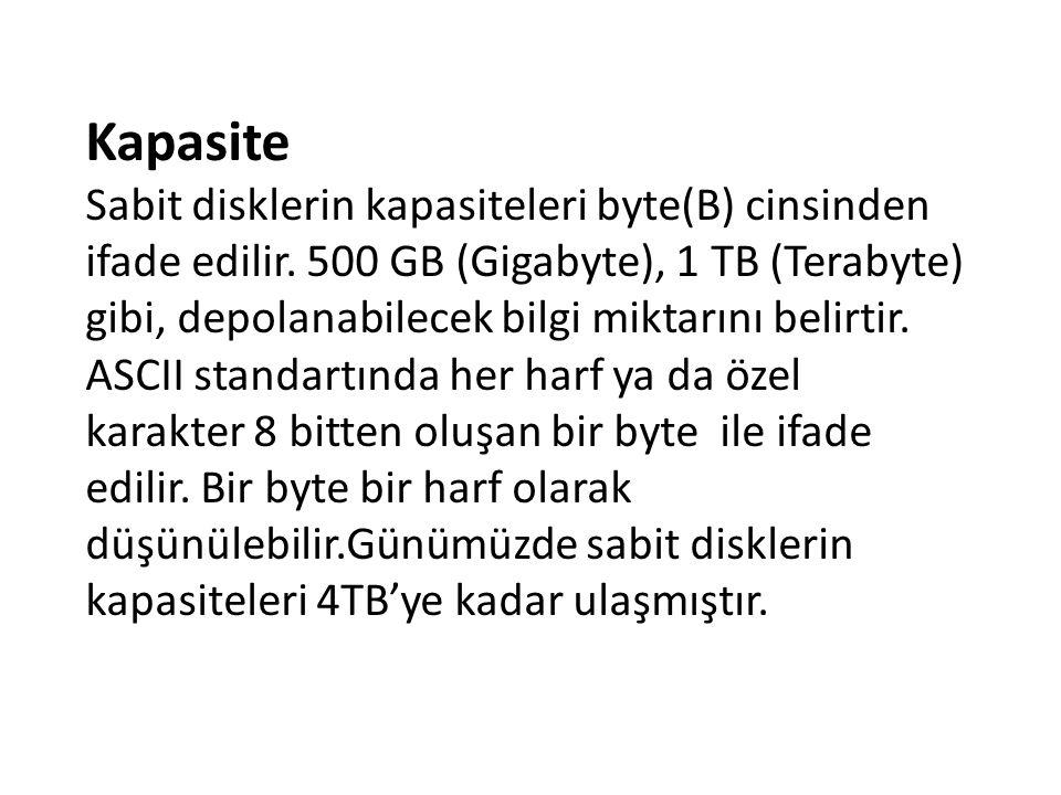 Kapasite Sabit disklerin kapasiteleri byte(B) cinsinden ifade edilir. 500 GB (Gigabyte), 1 TB (Terabyte) gibi, depolanabilecek bilgi miktarını belirti