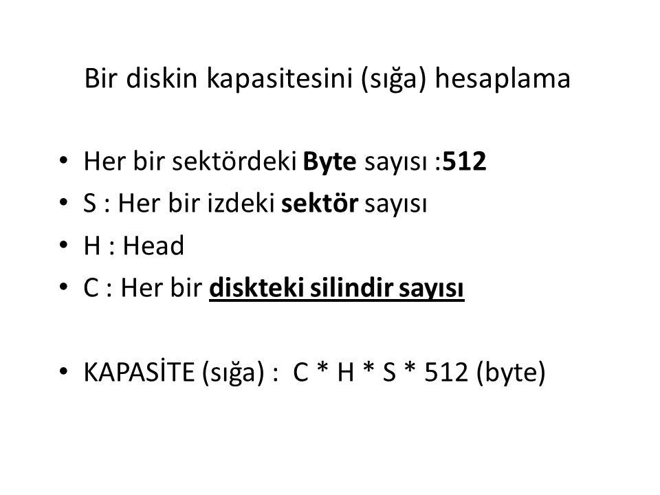Bir diskin kapasitesini (sığa) hesaplama Her bir sektördeki Byte sayısı :512 S : Her bir izdeki sektör sayısı H : Head C : Her bir diskteki silindir s