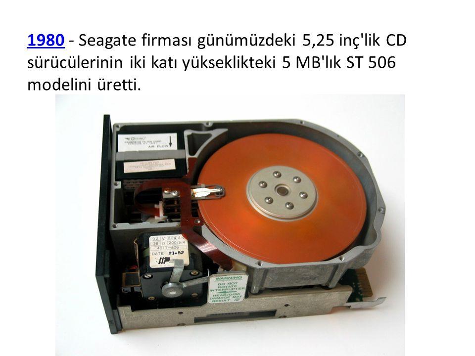 19801980 - Seagate firması günümüzdeki 5,25 inç'lik CD sürücülerinin iki katı yükseklikteki 5 MB'lık ST 506 modelini üretti.