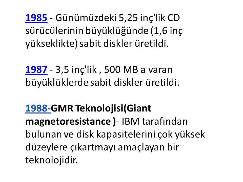 19851985 - Günümüzdeki 5,25 inç'lik CD sürücülerinin büyüklüğünde (1,6 inç yükseklikte) sabit diskler üretildi. 19871987 - 3,5 inç'lik, 500 MB a varan