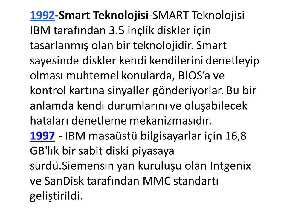 1992-Smart Teknolojisi-SMART Teknolojisi IBM tarafından 3.5 inçlik diskler için tasarlanmış olan bir teknolojidir. Smart sayesinde diskler kendi kendi