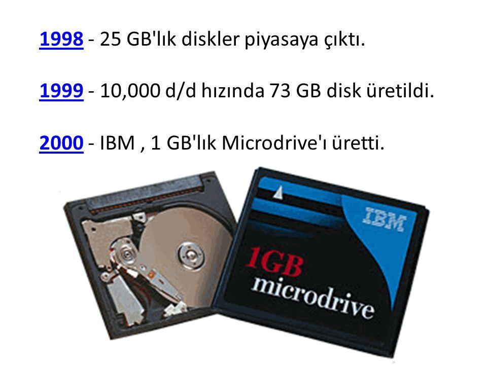 19981998 - 25 GB'lık diskler piyasaya çıktı. 19991999 - 10,000 d/d hızında 73 GB disk üretildi. 20002000 - IBM, 1 GB'lık Microdrive'ı üretti.
