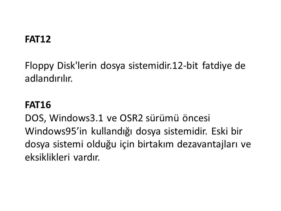 FAT12 Floppy Disk'lerin dosya sistemidir.12-bit fatdiye de adlandırılır. FAT16 DOS, Windows3.1 ve OSR2 sürümü öncesi Windows95'in kullandığı dosya sis