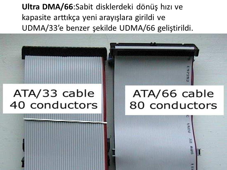 Ultra DMA/66:Sabit disklerdeki dönüş hızı ve kapasite arttıkça yeni arayışlara girildi ve UDMA/33'e benzer şekilde UDMA/66 geliştirildi.