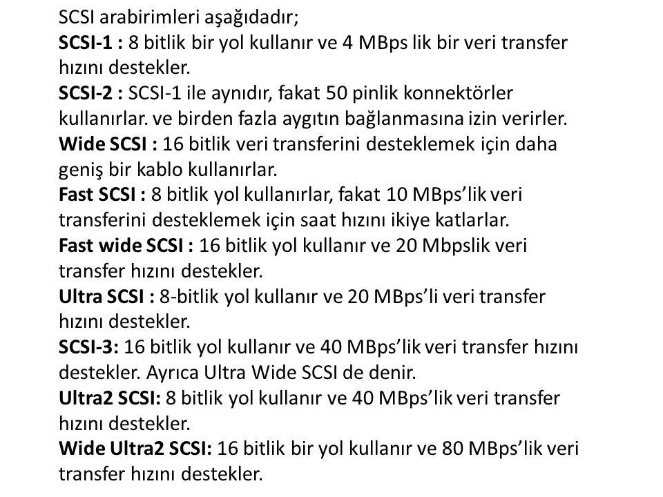 SCSI arabirimleri aşağıdadır; SCSI-1 : 8 bitlik bir yol kullanır ve 4 MBps lik bir veri transfer hızını destekler. SCSI-2 : SCSI-1 ile aynıdır, fakat