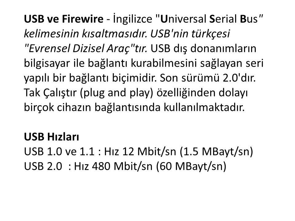USB ve Firewire - İngilizce