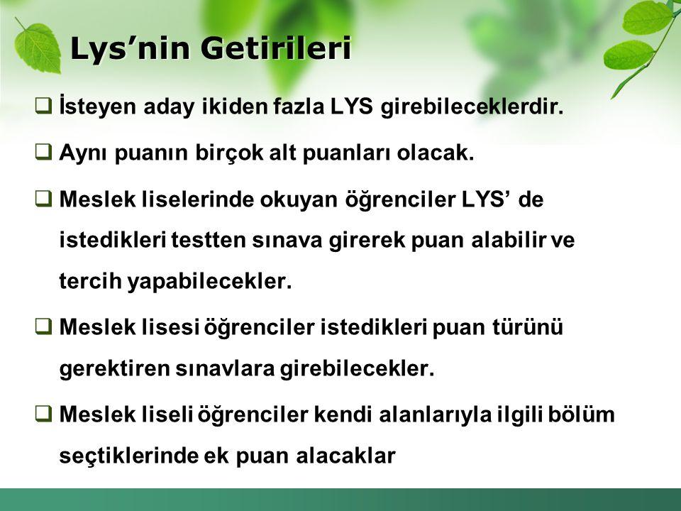 Lys'nin Getirileri  İsteyen aday ikiden fazla LYS girebileceklerdir.  Aynı puanın birçok alt puanları olacak.  Meslek liselerinde okuyan öğrenciler