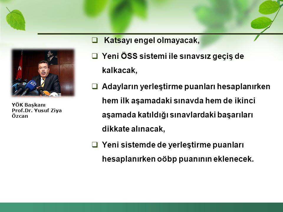 YÖK Başkanı Prof.Dr. Yusuf Ziya Özcan  Katsayı engel olmayacak,  Yeni ÖSS sistemi ile sınavsız geçiş de kalkacak,  Adayların yerleştirme puanları h