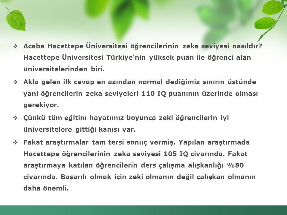  Acaba Hacettepe Üniversitesi öğrencilerinin zeka seviyesi nasıldır? Hacettepe Üniversitesi Türkiye'nin yüksek puan ile öğrenci alan üniversitelerind