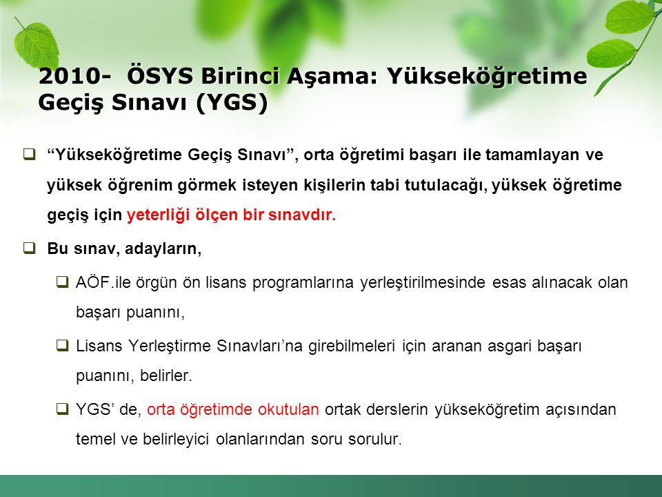 """2010- ÖSYS Birinci Aşama: Yükseköğretime Geçiş Sınavı (YGS)  """"Yükseköğretime Geçiş Sınavı"""", orta öğretimi başarı ile tamamlayan ve yüksek öğrenim gör"""