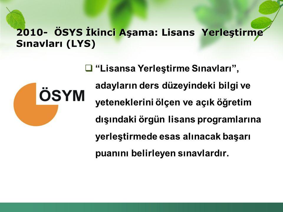 """2010- ÖSYS İkinci Aşama: Lisans Yerleştirme Sınavları (LYS)  """"Lisansa Yerleştirme Sınavları"""", adayların ders düzeyindeki bilgi ve yeteneklerini ölçen"""