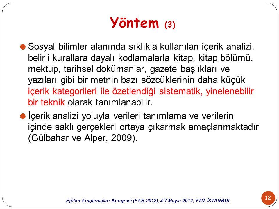 12 Eğitim Araştırmaları Kongresi (EAB-2012), 4-7 Mayıs 2012, YTÜ, İSTANBUL Yöntem (3)  Sosyal bilimler alanında sıklıkla kullanılan içerik analizi, b