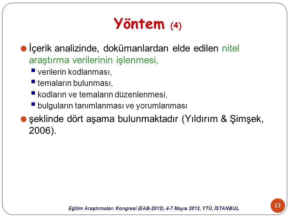 13 Eğitim Araştırmaları Kongresi (EAB-2012), 4-7 Mayıs 2012, YTÜ, İSTANBUL Yöntem (4)  İçerik analizinde, dokümanlardan elde edilen nitel araştırma v