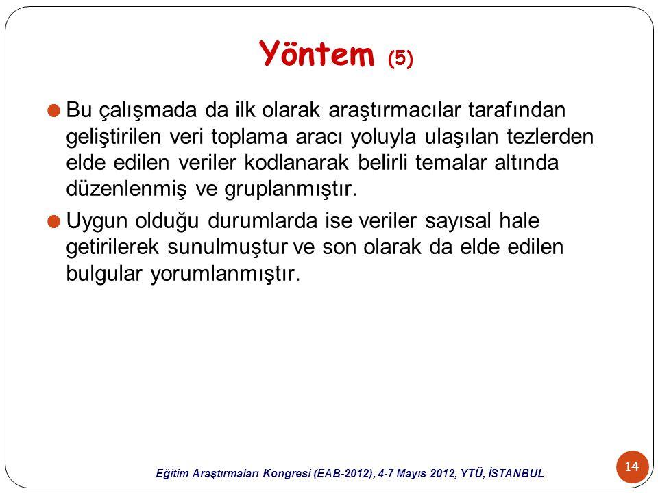 14 Eğitim Araştırmaları Kongresi (EAB-2012), 4-7 Mayıs 2012, YTÜ, İSTANBUL Yöntem (5)  Bu çalışmada da ilk olarak araştırmacılar tarafından geliştiri