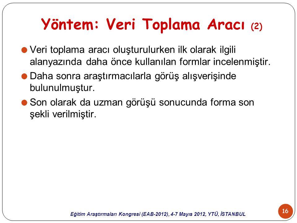 16 Eğitim Araştırmaları Kongresi (EAB-2012), 4-7 Mayıs 2012, YTÜ, İSTANBUL Yöntem: Veri Toplama Aracı (2)  Veri toplama aracı oluşturulurken ilk olar