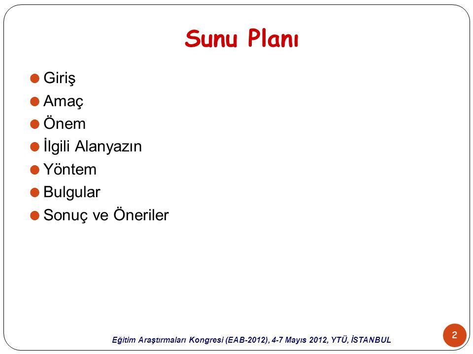 13 Eğitim Araştırmaları Kongresi (EAB-2012), 4-7 Mayıs 2012, YTÜ, İSTANBUL Yöntem (4)  İçerik analizinde, dokümanlardan elde edilen nitel araştırma verilerinin işlenmesi,  verilerin kodlanması,  temaların bulunması,  kodların ve temaların düzenlenmesi,  bulguların tanımlanması ve yorumlanması  şeklinde dört aşama bulunmaktadır (Yıldırım & Şimşek, 2006).