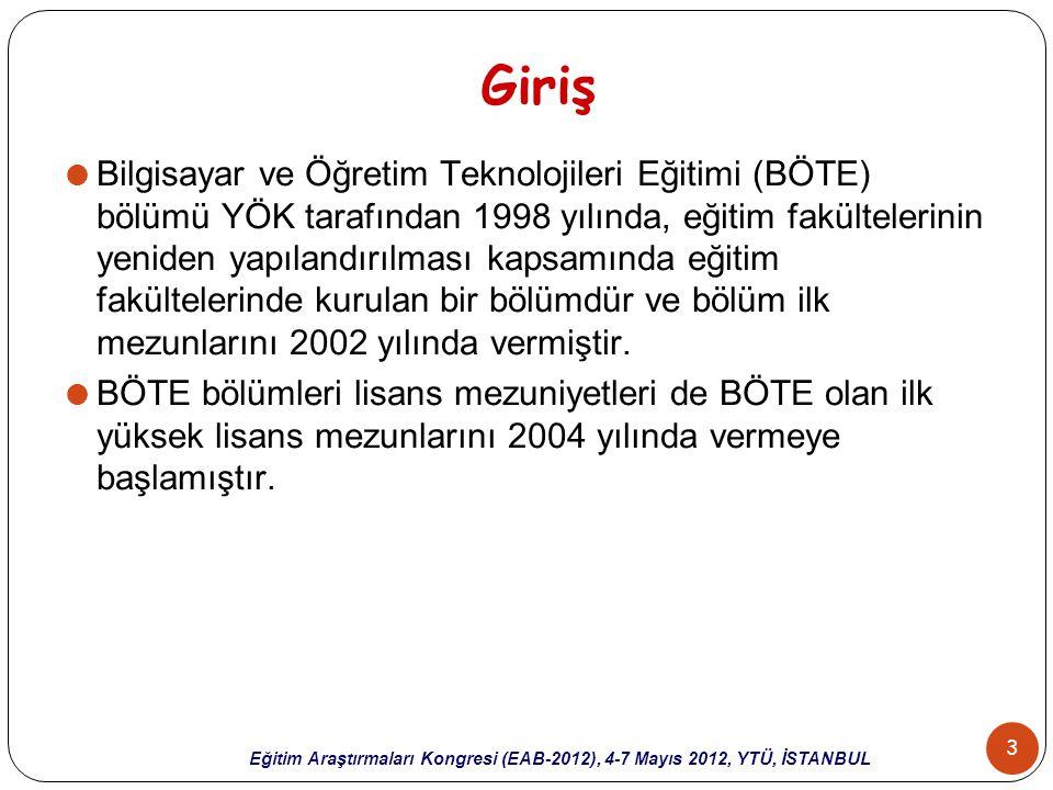 4 Eğitim Araştırmaları Kongresi (EAB-2012), 4-7 Mayıs 2012, YTÜ, İSTANBUL Amaç  Bu çalışmanın amacı,  Türkiye'de 2004-2011 yılları arasında BÖTE alanında yapılmış olan lisansüstü tezlerin  yöntem (araştırma modeli, evren ve örneklem, kullanılan ölçme araçları, istatistiksel teknikler) ve  içerik açısından incelenmesidir.