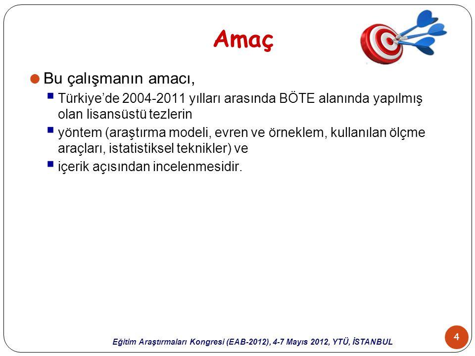 4 Eğitim Araştırmaları Kongresi (EAB-2012), 4-7 Mayıs 2012, YTÜ, İSTANBUL Amaç  Bu çalışmanın amacı,  Türkiye'de 2004-2011 yılları arasında BÖTE ala