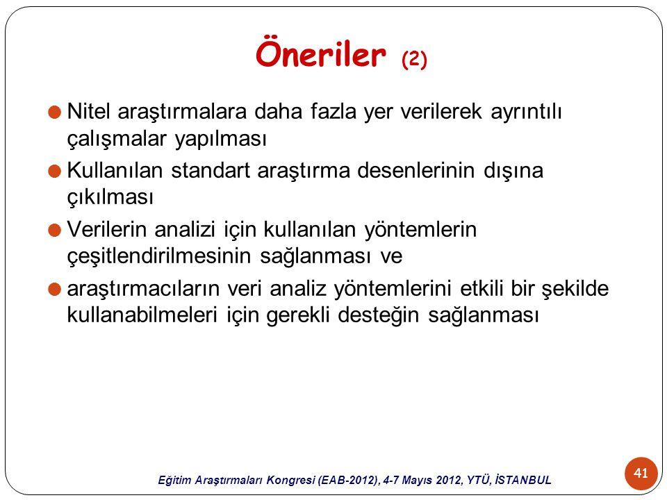 41 Eğitim Araştırmaları Kongresi (EAB-2012), 4-7 Mayıs 2012, YTÜ, İSTANBUL Öneriler (2)  Nitel araştırmalara daha fazla yer verilerek ayrıntılı çalış