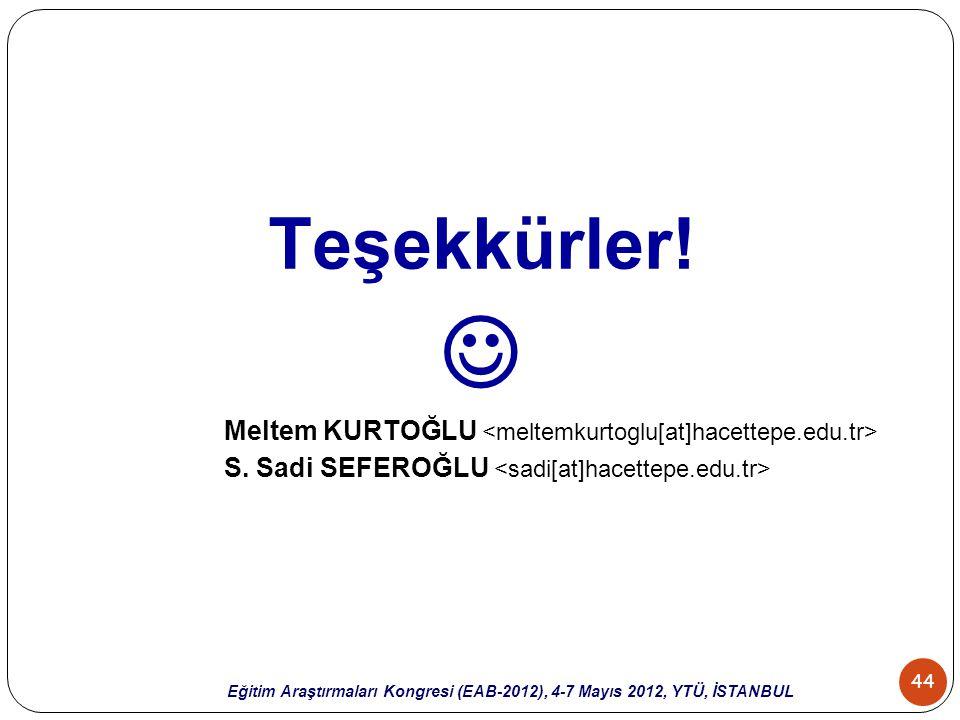 44 Eğitim Araştırmaları Kongresi (EAB-2012), 4-7 Mayıs 2012, YTÜ, İSTANBUL Teşekkürler! Meltem KURTOĞLU S. Sadi SEFEROĞLU