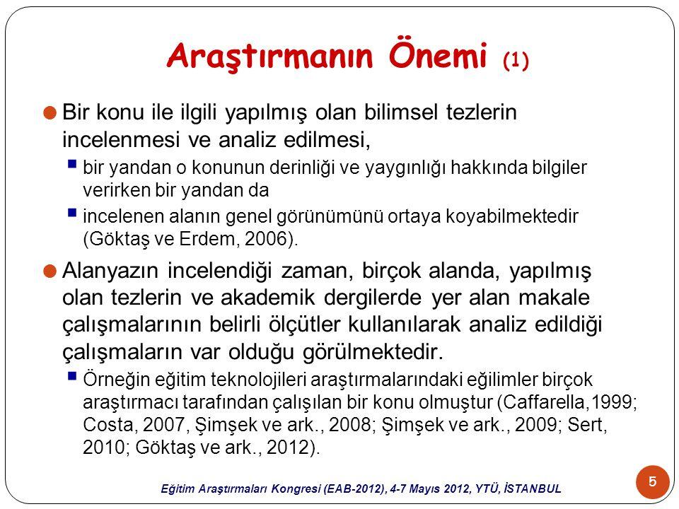 36 Eğitim Araştırmaları Kongresi (EAB-2012), 4-7 Mayıs 2012, YTÜ, İSTANBUL Sonuçlar (3)  Tezlerde en fazla kullanılan araştırma yöntemlerinin  nicel araştırma yöntemleri olduğu sonucuna ulaşılmıştır.