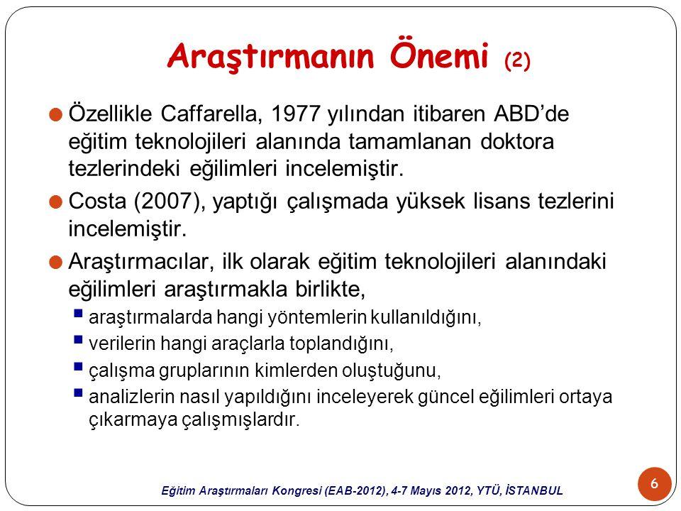 7 Eğitim Araştırmaları Kongresi (EAB-2012), 4-7 Mayıs 2012, YTÜ, İSTANBUL Araştırmanın Önemi (3)  Eğitim teknolojileri alanında Türkiye'de yapılan birtakım araştırmalar bulunmaktadır.