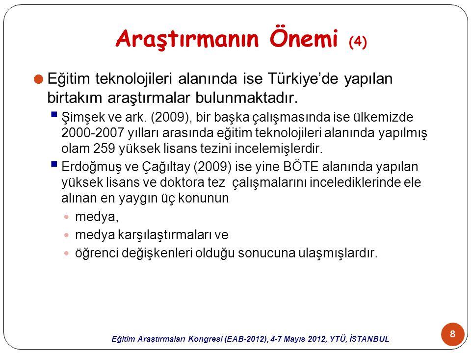 39 Eğitim Araştırmaları Kongresi (EAB-2012), 4-7 Mayıs 2012, YTÜ, İSTANBUL Sonuçlar (6)  İncelenen tezlerde en fazla kullanılan veri analiz yöntemleri:  betimsel istatistiki yöntemler,  t-testleri,  anova-ancova.