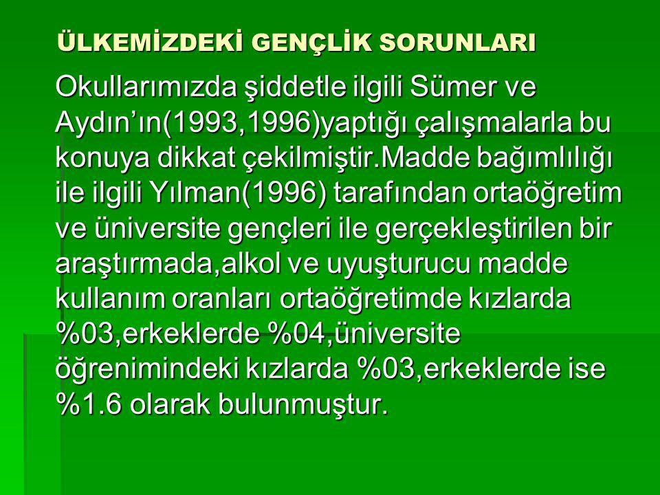 ÜLKEMİZDEKİ GENÇLİK SORUNLARI Okullarımızda şiddetle ilgili Sümer ve Aydın'ın(1993,1996)yaptığı çalışmalarla bu konuya dikkat çekilmiştir.Madde bağıml